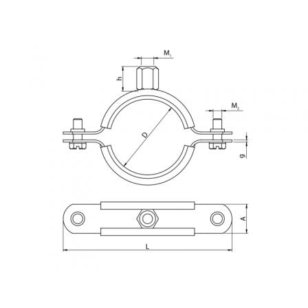 80120220000 - Хомут металлический  с резиновой вставкой UPGD-200BK (200-210) М8/10