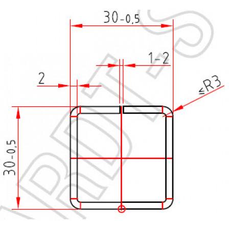 Труба-квадрат 30х30 x 2,0 mm