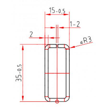 Труба-квадрат 35 x 15 x 2,0 mm