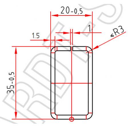 Труба-квадрат 35 x 20 x 1,5 mm