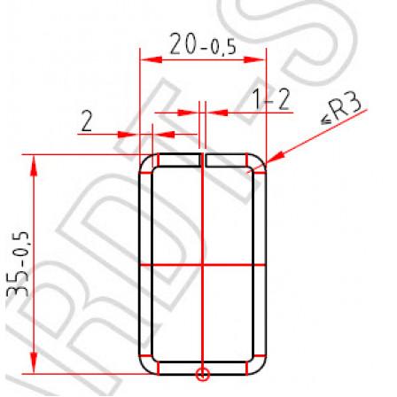 Труба-квадрат 35 x 20 x 2,0 mm